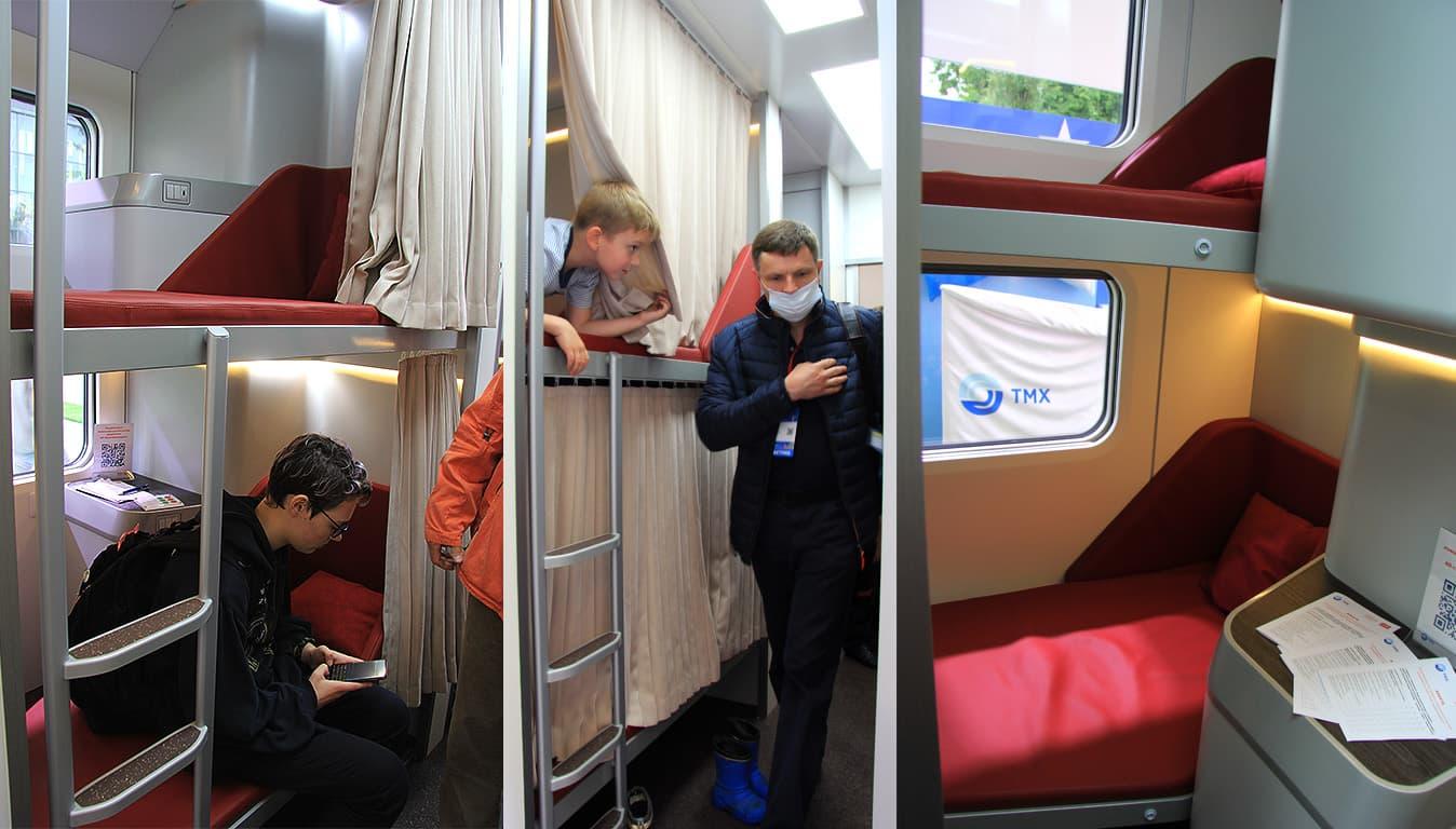 Макет нового капсульного пассажирского вагона на российском туристическом форуме «Путешествуй»